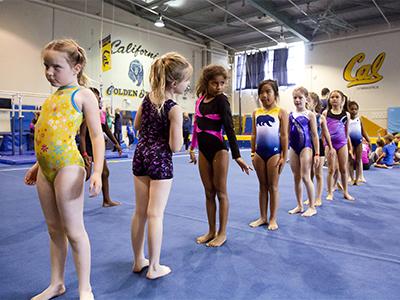 Girls at Golden Bears Gymnastics summer camp