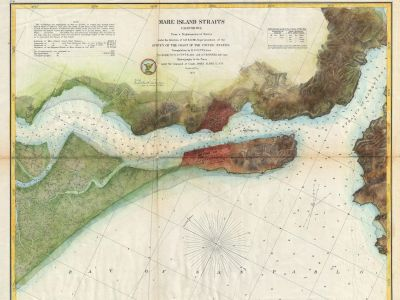 a 1857 coast guard overhead map of mare island, color coded to distinguish water from marsh from land